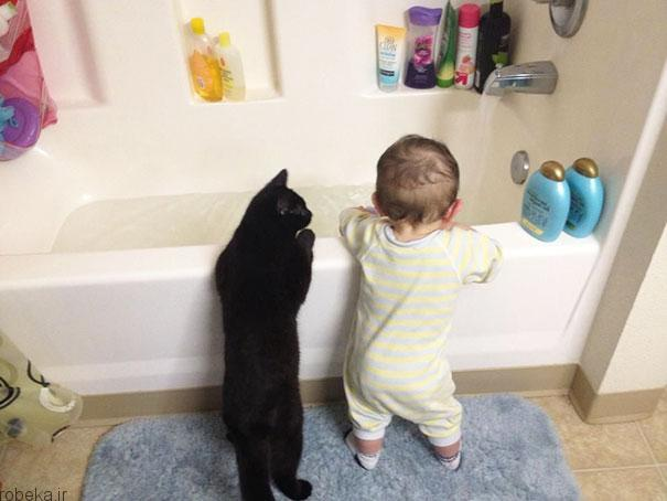 2017532314196623a عکس های دیدنی از رابطه احساسی گربه ها و کودکان