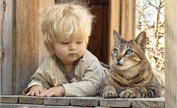 20175323141968414a عکس های دیدنی از رابطه احساسی گربه ها و کودکان
