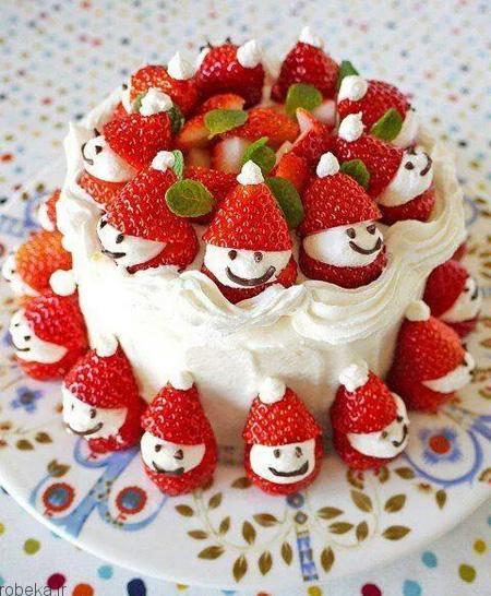 da a9 db 8c da a9  d8 a7 d8 b3 d9 81 d9 86 d8 ac db 8c 6 تزیین کیک اسفنجی با میوه
