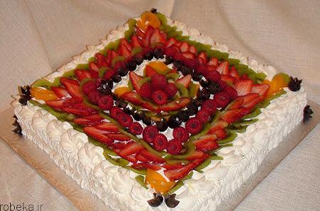 da a9 db 8c da a9  d8 a7 d8 b3 d9 81 d9 86 d8 ac db 8c 7 تزیین کیک اسفنجی با میوه