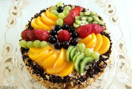 da a9 db 8c da a9  d8 a7 d8 b3 d9 81 d9 86 d8 ac db 8c تزیین کیک اسفنجی با میوه