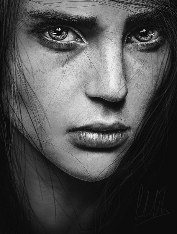 black white artistic portraits photos 1 عکس پرتره سیاه و سفید هنری از چهره های دخترانه و مردانه