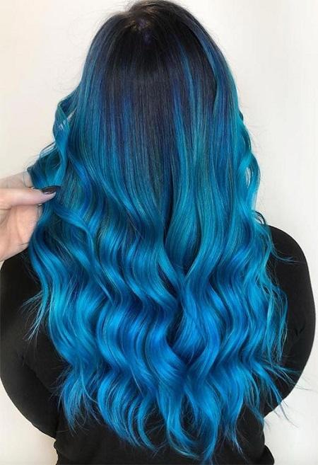 رنگ مو آبی کلاسیک, رنگ مو آبی فیروزه ای, رنگ مو آبی کهکشانی