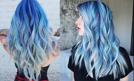 رنگ مو آبی فیروزه ای, رنگ مو آبی کهکشانی, آموزش رنگ مو آبی بدون دکلره