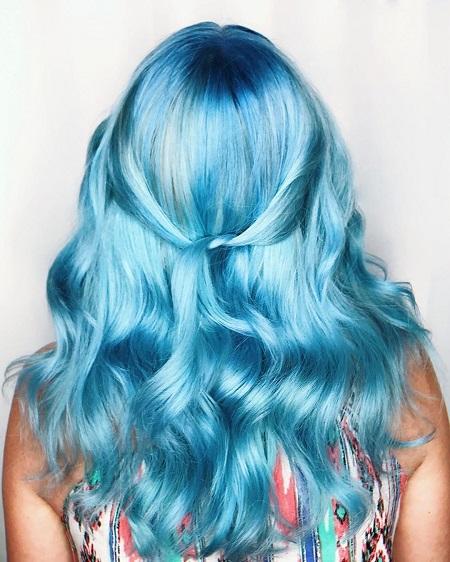 آموزش رنگ مو آبی بدون دکلره, رنگ مو آبی آسمانی, رنگ مو آبی