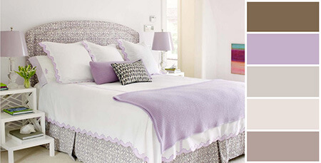 %name ترکیب رنگ یاسی در دکوراسیون اتاق خواب