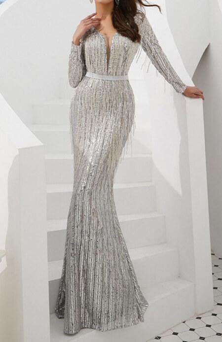 مدل های لباس شب نقره ای, مدل لباس شب نقره ای شیک, مدل لباس های شب نقره ای