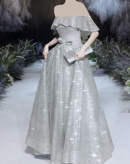 مدل لباس های شب نقره ای, طرح های شیک مدل لباس شب نقره ای, مدل های شیک لباس شب نقره ای