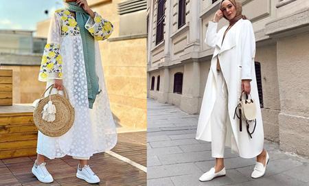 با لباس سفید چه کفشی بپوشم,ست مانتو سفید مجلسی