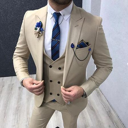 men1 cream2 suit1 set1 ست کت و شلوار کرم مردانه