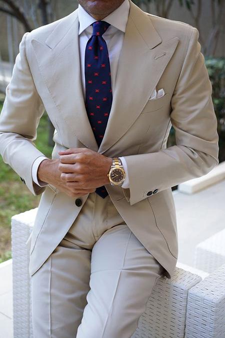 men1 cream2 suit1 set17 ست کت و شلوار کرم مردانه