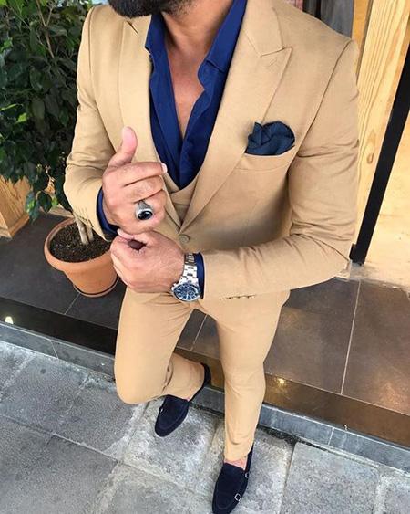 men1 cream2 suit1 set18 ست کت و شلوار کرم مردانه