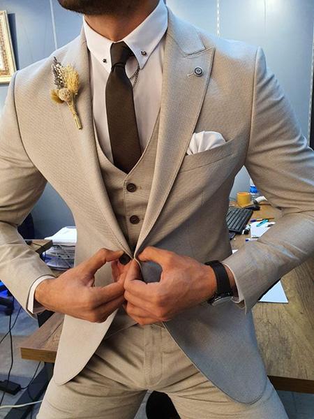 men1 cream2 suit1 set24 ست کت و شلوار کرم مردانه