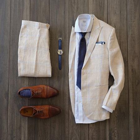 men1 cream2 suit1 set25 ست کت و شلوار کرم مردانه