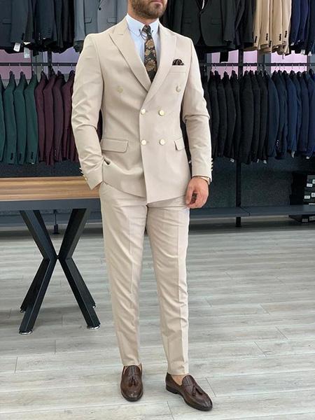 men1 cream2 suit1 set26 ست کت و شلوار کرم مردانه