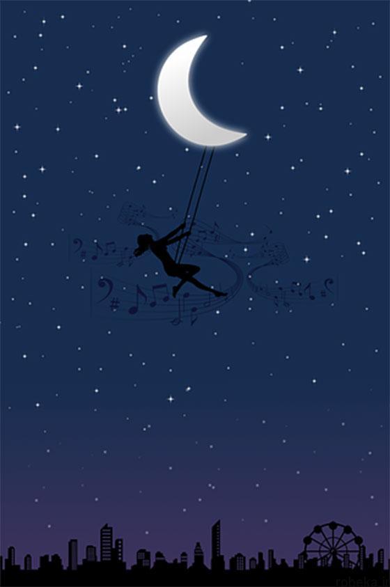 moon stars profile photos 13 عکس پروفایل ماه و ستاره فانتزی و کارتونی زیبا در شب