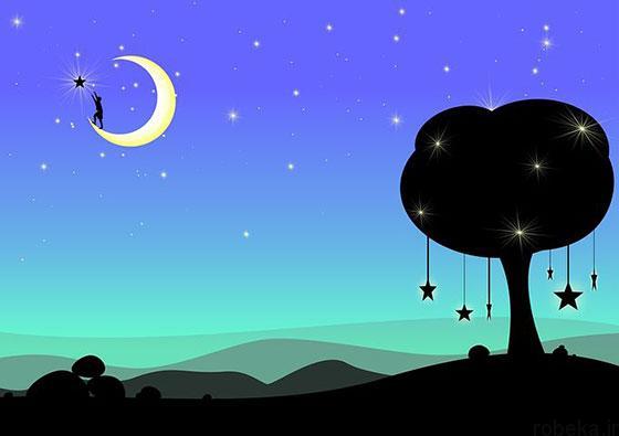 moon stars profile photos 4 عکس پروفایل ماه و ستاره فانتزی و کارتونی زیبا در شب