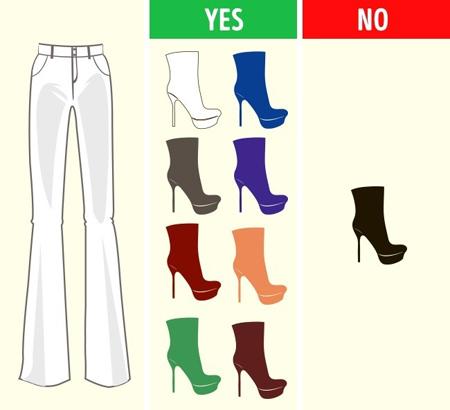 ست کردن رنگ شلوار با کفش,طرز ست کردن رنگ شلوار با کفش