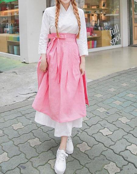 pink1 long1 skirt2 girls1 مدل دامن بلند دخترانه صورتی
