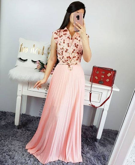 pink1 long1 skirt2 girls11 مدل دامن بلند دخترانه صورتی