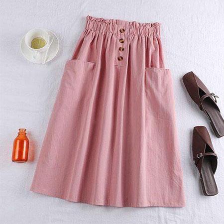 pink1 long1 skirt2 girls14 مدل دامن بلند دخترانه صورتی