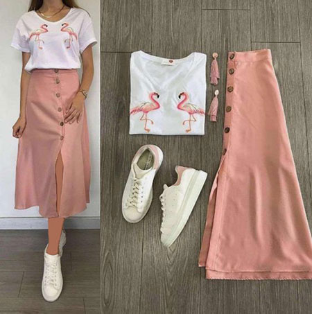 pink1 long1 skirt2 girls15 مدل دامن بلند دخترانه صورتی