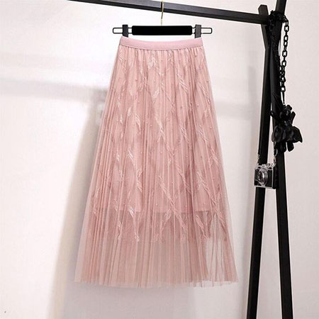 pink1 long1 skirt2 girls2 مدل دامن بلند دخترانه صورتی