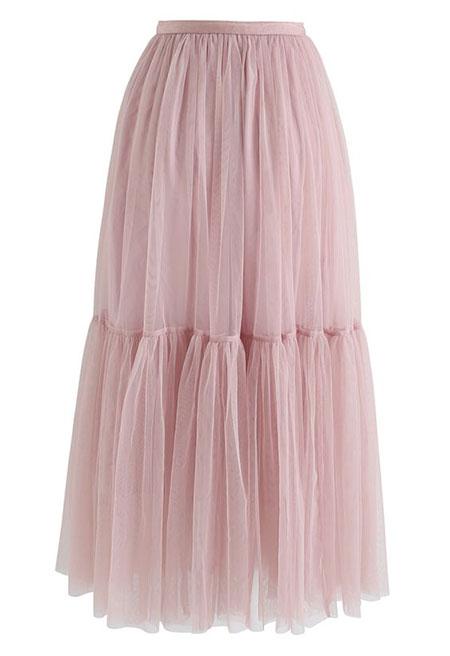 pink1 long1 skirt2 girls5 مدل دامن بلند دخترانه صورتی