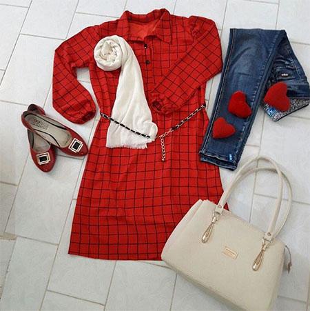 red1 manto1 pattern1 مدل مانتو قرمز