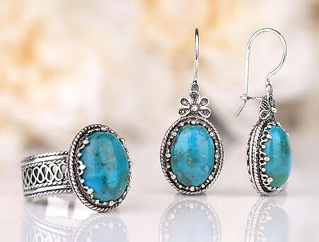 ست های شیک سنگ فیروزه,ست جواهرات فیروزه,جدیدترین زیورآلات فیروزه ای