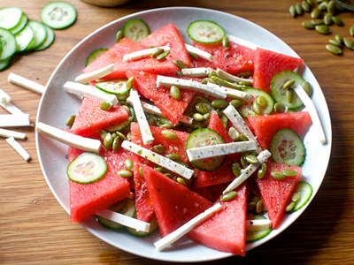 watermelon2 salad2 cucumber2 طرز تهیه سالاد هندوانه و خیار