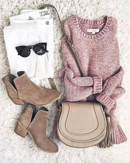 wear2 purple2 pink5 ایده های پوشیدن پلیور صورتی در فصل پاییز