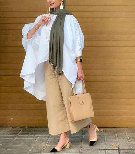 wearing cream trousers8 ست شلوار کرم – خاکی