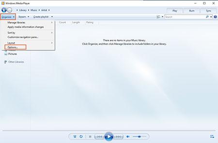 windows mediaplayer01 1 تبدیل فایلهای صوتی به Mp3 در مدیا پلیر ویندوز